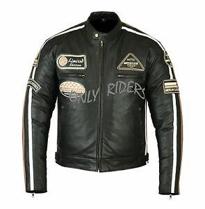 Chaqueta-Con-Proteccinones-Para-Moto-En-Cuero-Cafe-Racer-Vintage-Biker-Negro
