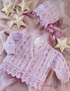 Baby-Cardigan-amp-Bonnet-Eyelet-amp-Scallop-Border-16-26-034-DK-Knitting-Pattern