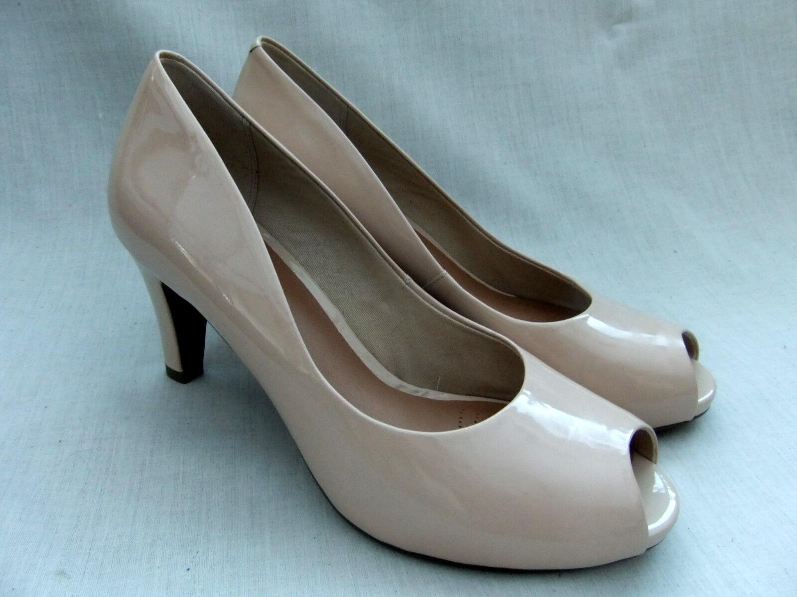 NEW CLARKS CHORUS SING Damenschuhe Schuhe NUDE PATENT LEATHER PEEP-TOE Schuhe Damenschuhe 6104f8