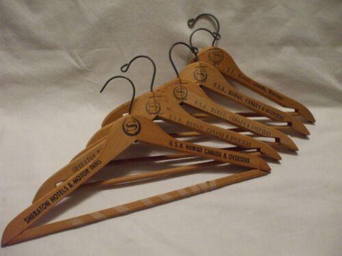 "Vintage 17"" Wooden Suit Hanger Advertise SHERATON"