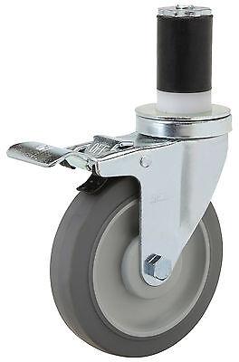 """Expandable Rubber Stem Caster 3/"""" x 1/"""" Rubber on Poly Wheel Plain Bore."""