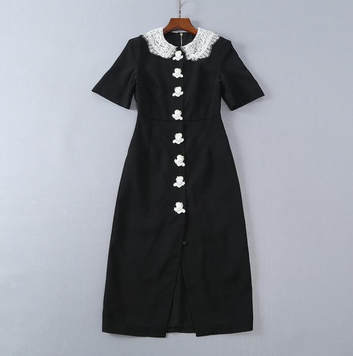 Parti de piste HolFaible Out décorer Lapel Col à Manches Courtes à boutonnage simple robe