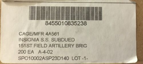 Box of 200 151st Field Artillery Bde subdued Patches US Army Military Surplus