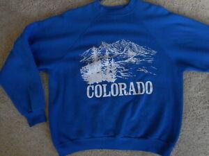 Vintage Colorado Sweatshirt Mens Blue XL Mountains Trees Graphic White CO Artex