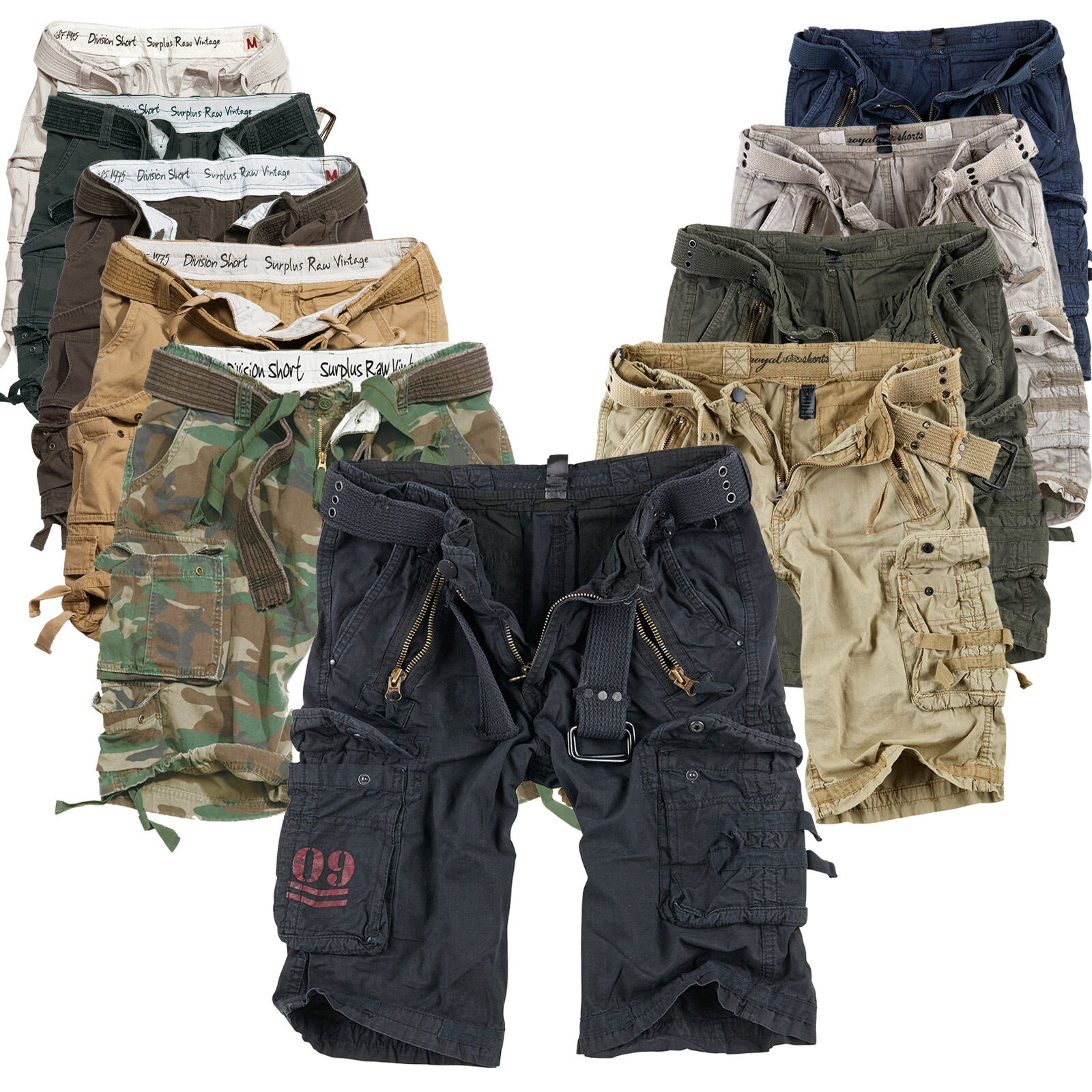 d77a339f297 Surplus Raw Vintage Division Royal Cargo Shorts Bermuda Us Army Shorts