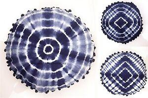 Indigo-Blue-Cushion-Pillow-Cover-Round-Tie-Dye-Shibori-Mandala-Pillow-Case-Sham