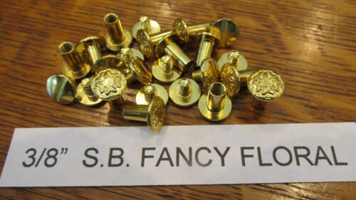 "CHICAGO SCREW 3//8/"" SOL BRASS FLORAL 100 pcs.Leather Belt Fastener Saddlery S.B."
