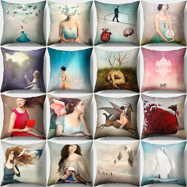 KD_ Vintage Beautiful Lady Print Pillow Case Throw Cushion Cover Home Decor Ey