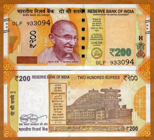 UNC /> Gandhi 2018 India P-New 200 Rupees new denomination and color