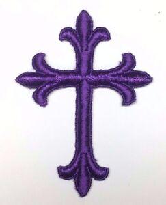 Vintage-Liturgico-Cruz-Bordado-Plancha-Violeta-B-7-6cmx-10-2cm-Emblema-Parche-2