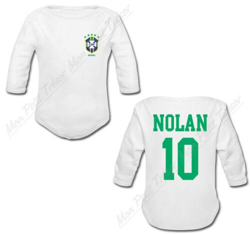 Body Bébé Football Maillot Brésil personnalisé avec prénom et numéro au dos