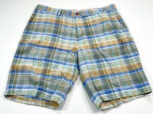 Tommy-Bahama-38-Plaid-Blue-Brown-Linen-Blend-Flat-Front-Men-039-s-Shorts