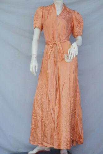 Vintage 30s Peach Pink Maxi Dress Dressing Gown