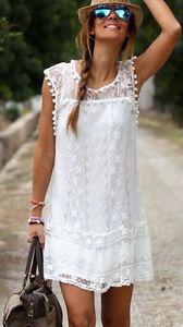 Sexy Zu S Weiß Spitze Details Kleid Gr36 Vintage Romantisch Minikleid WD2YEIH9e