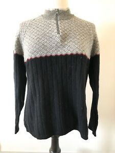Women-s-Woolrich-Gray-And-Blue-100-Lambs-Wool-Sweater-Top-Size-Medium