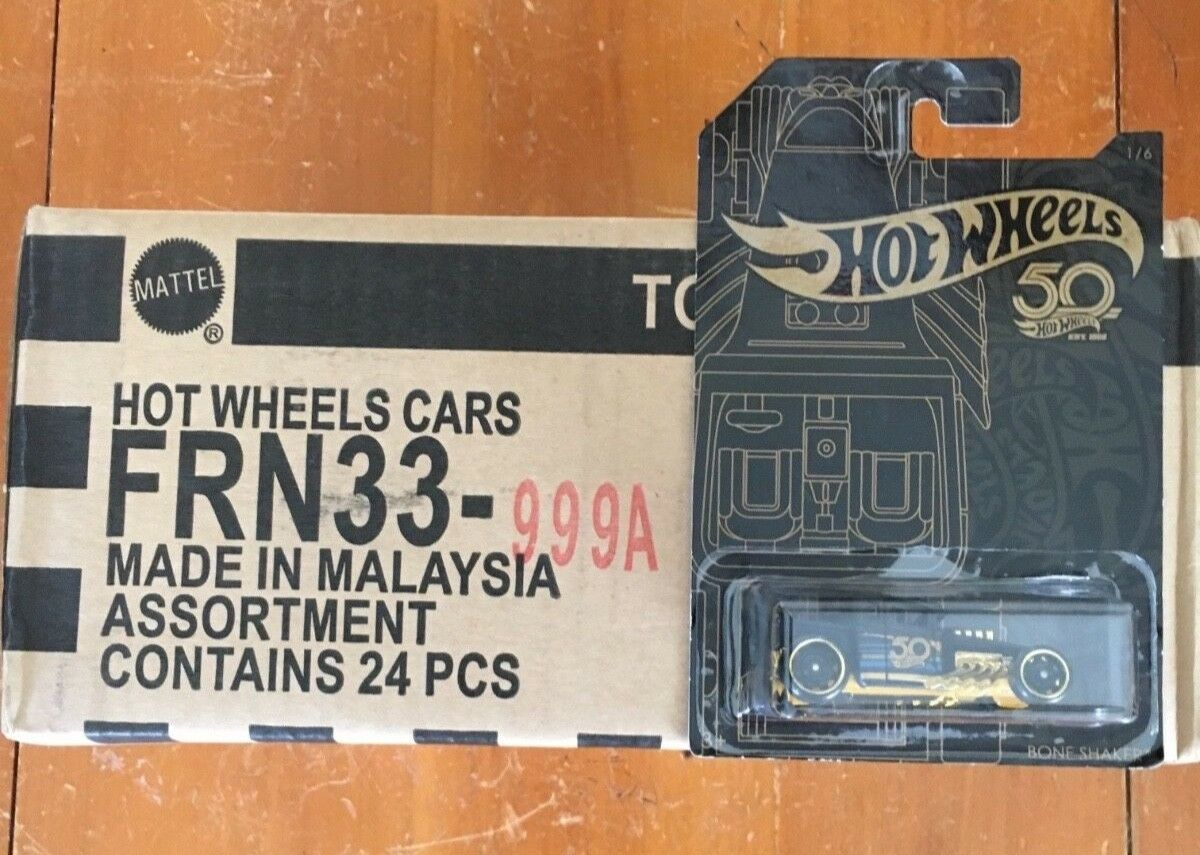 Hotwheels 50th Anniversary Black gold Sealed case of 24 cars W gold Chase Camaro