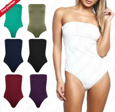 Womens Ladies Sleeveless Boobtube Bandeau Plain Bodysuit Leotard Top Vest 8-22