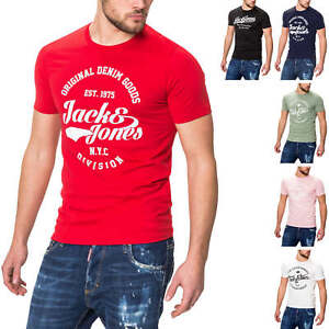 Jack-amp-Jones-Hommes-Manches-Courtes-Shirt-Homme-Shirt-T-shirt-ete-t-shirt-avec-logo-Print