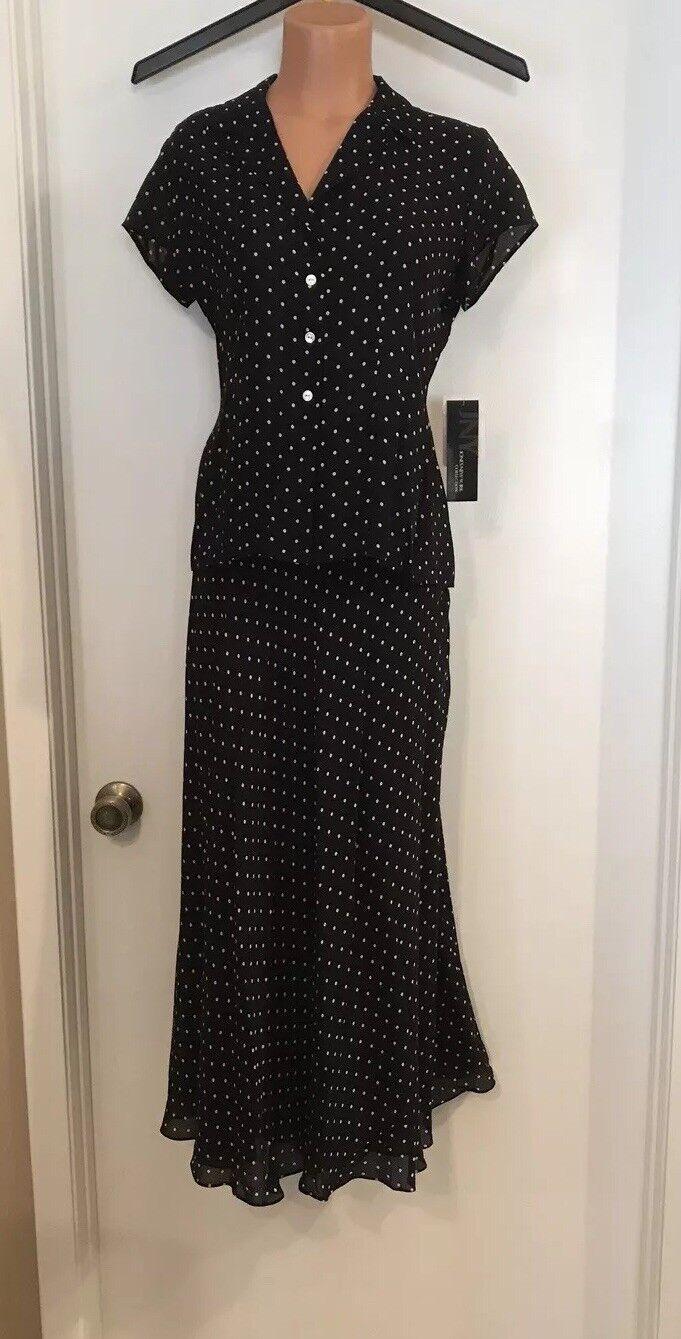Jones New York 2 Piece Silk Dress Set Top Size 8, Skirt Size 4, NWT ( MSRP )