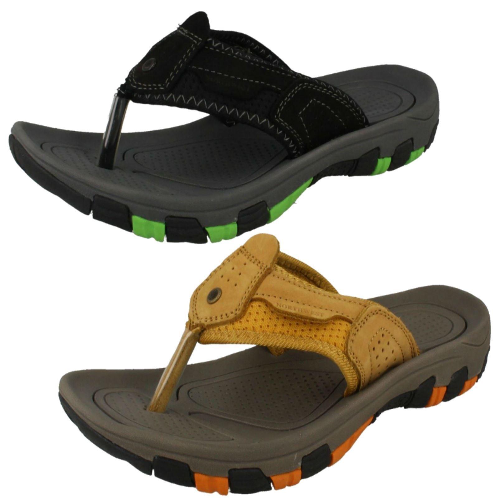 Mens Northwest Fiji Black Or Honey Leather Casual Toe Post Mule Sandals