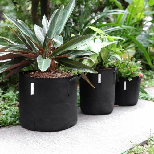 5 x Pack 1-10 Gallon Grow Bags Aeration Fabric Pots Handles Black Garden Plants