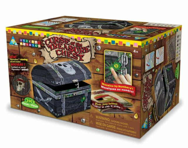 Orb Factory Sticky Mosaics Curse of the Treasure Chest Box Pirate Kit for Boys
