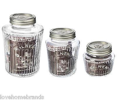 Kilner Vintage Preserve Jars Storage Airtight Glass Jam Chutney 1L 500ml 250ml