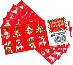 USPS Holiday Delights Christmas Postage Stamps - 5 Booklets of 20 - 100 Stamps