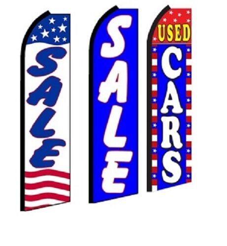 Sale Used Cars King  Size  Swooper Flag Banner Sign pk of 3
