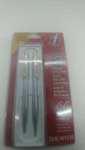 SHEAFFER-Sentinel-Ballpoint-Pen-and-Pencil-Set-Brushed-Chrome-1998