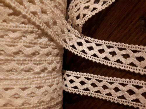 Baumwollspitze 6 Meter reinweiße Klöppelborte Vintage 20mm breit