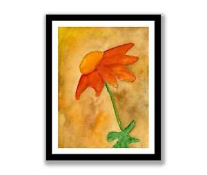 Ornage-Daisy-watercolour-abstract-painting-unique-gift-Print-ID-186