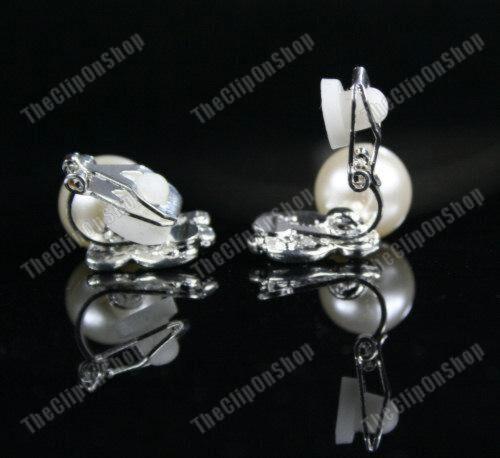 Comfy Clip En Perla Y Cristal Mariposa De Plata Aretes