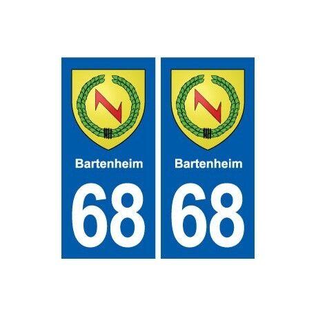 68 Bartenheim blason autocollant plaque stickers ville -  Angles : droits