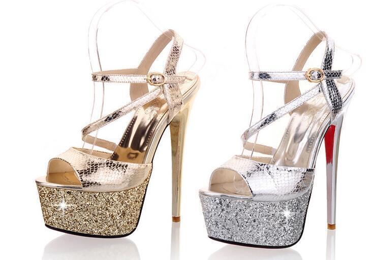 Sandali donna oro argentooo  spillo stiletto plateau 15 cm eleganti comodi  8537