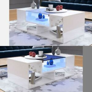Details About Modern High Gloss Coffee Tea Table Living Room Furniture W Top Glass Free Led