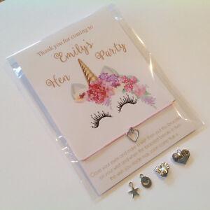 le dernier enfant prix de gros Details about Hen Party bracelets Unicorn Hen favours wish bracelets  Personalised hen bracelet