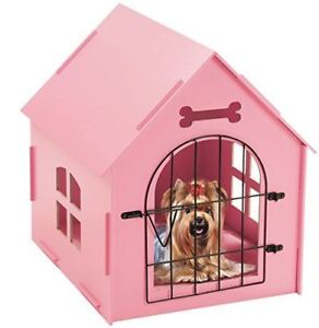 Wood-Dog-House-Crate-Indoor-Kennel-Small-Dogs-Cat-Pet-Home-With-mat-Shelter-PINK