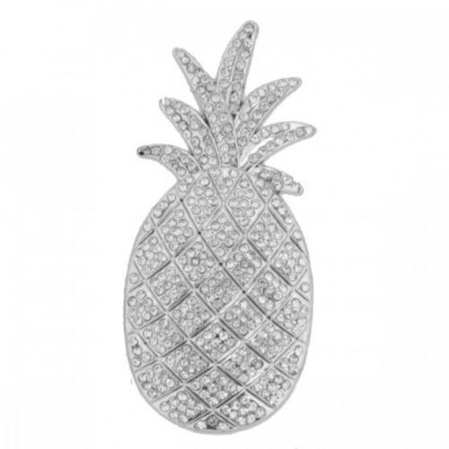 Ananas Magnet Brosche mit Strass Ponchohalter Schalhalter Pineapple Jeans Summer