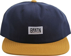 972b1e79 Image is loading Brixton-Unisex-Adult-Langley-Snapback-Hat-Navy-Copper
