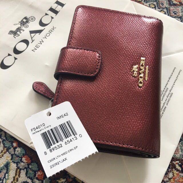 93061f01006f Coach Medium Corner Zip Wallet in Crossgrain Leather F54010 Ime42 for sale  online