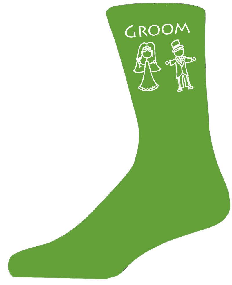 Green Luxury Cotton Rich Bride & Groom Figure Wedding Socks, Groom, Best Man