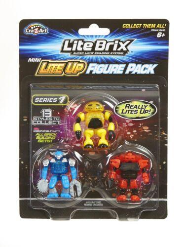 CraZArt Lite Brix Super Light Builing system Series 1 Mini Lite Up 3 Figure Pack