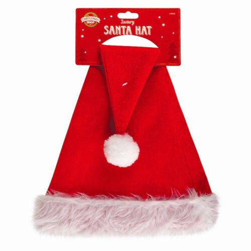 New Luxury Father Christmas Hat Xmas Santa Fancy Dress Costume Hat Accessory