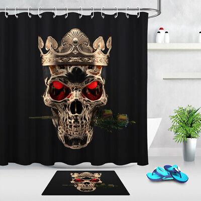 Bathroom Waterproof Beauty /& Skeleton Red Roses Black Shower Curtain Hooks Mat