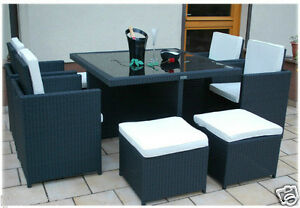 8 Seater + Table Rattan Garden Furniture Set