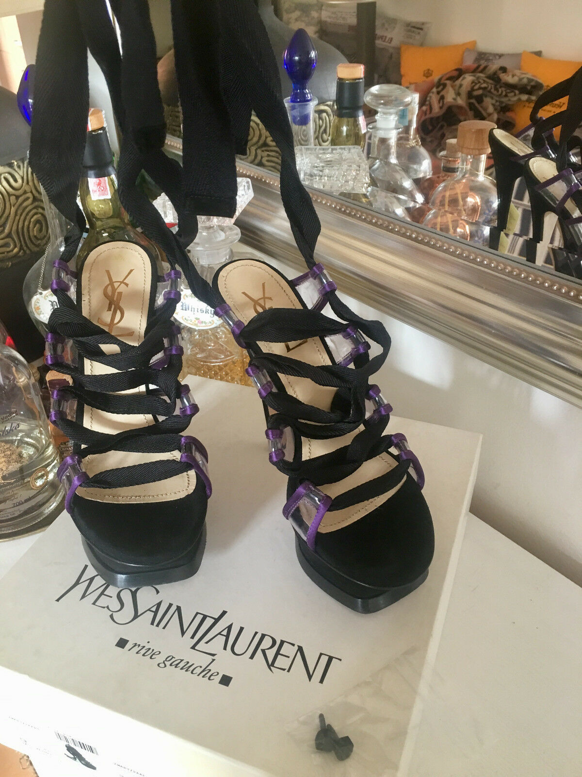 YSL lila naked kiss 105 105 105 lace pumps schuhe Yves Saint Laurent  NP 750 Euro 60b4ec