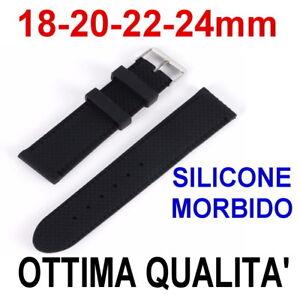 CINTURINO-OROLOGIO-SILICONE-18mm-20mm-22mm-24mm-NERO-GOMMA-MORBIDO-ZIGZAG-STRAPS