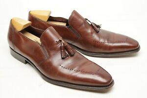 Mezlan-Mens-Tassel-Loafers-13-M-Brown-Leather-Perforated-Chisel-Toe-Spain-Shoes