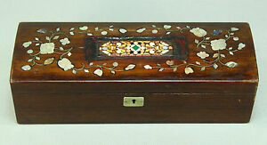 Antique-FINE-Rose-Wood-Box-w-Mother-of-Pearl-Inlay-amp-PIETRA-DURA-Micro-Mosaic